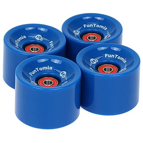 FunTomia 4 ruedas para longboard/monopatín (Big Wheels) de 70 x 51 mm, 80 A o 70 x 51 mm, 86 A, incluye rodamientos Mach1® (azul/dureza de las ruedas 80A)