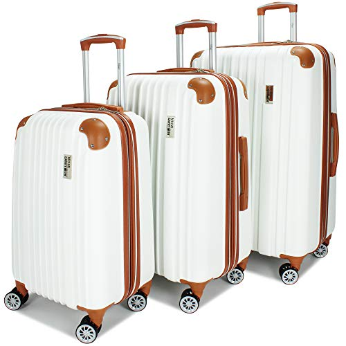 Miami CarryOn Collins 3 Piece Expandable Retro Spinner Luggage Set (White)