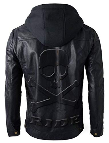 Feather Skin Männer Kleidung Brando Style Motorbike Echte Lederjacke Hoodie with Skull Embossed Logo at Back- L