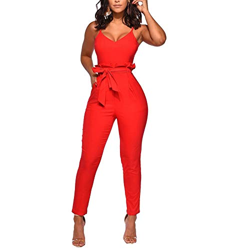 IyMoo Sexy V Neck Jumpsuits for Women-Spaghetti Strap Solid Bodycon Jumpsuits with Belt Elegant Casual One Piece Outfits Orange Red L