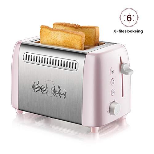 Broodrooster 2 Slice, 6 Browning Control en uitneembare kruimellade ontdooien opwarmen knop Annuleren RVS Compact Toast Bread