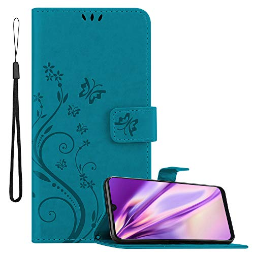 Cadorabo Funda Libro para Samsung Galaxy A30S / A50 S / A50 en Azul Floral – Cubierta Proteccíon en Diseño de Flor con Cierre Magnético, Función de Suporte e 3 Tarjeteros - Etui Case Cover Carcasa