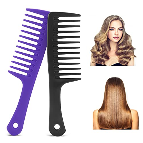 Molain 2Pcs Large Hair Detangling Comb Wide Tooth Comb for Curly Hair...