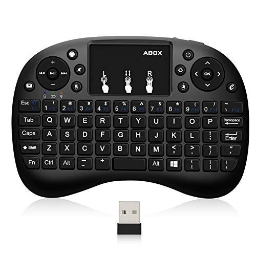 BOMAKER Mini 2.4GHz Tastatur Wireless fur Android TV Box/ 76 Touchpad-Tasten für Smart-TV, HTPC, IPTV, Xbox X360, PC, Pad, PS3, Tablets