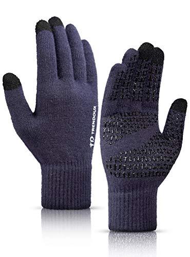 TRENDOUX Handschuhe Herren, Handschuhe Damen Touchscreen - Rutschfester Griff - Warm Gefüttert - Elastische Manschette - Weich Stricken Material - Thermohandschuhe Für Handy Autofahren - Marine XL
