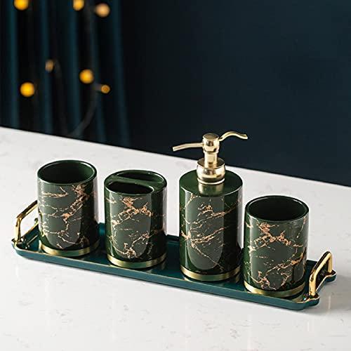 Ldd Baño de cerámica, diseño de mármol, Cepillo de Dientes, Estante de Almacenamiento, Frasco de Lavado, Taza de Enjuague bucal