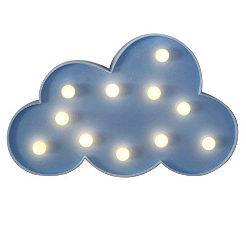 Marquee LED Nuit Lampe NHSUNRAY Mood Lights Mur Décor pour Enfants Décoration De La Maison De Mariage Chambre De Lit À Piles (Nuage)
