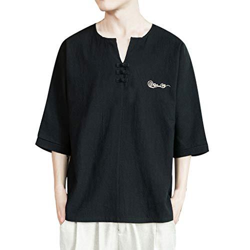 Xmiral T-Shirt Uomo a Maniche Corte a Tre Quarti con Ricamo in Lino e Cotone da Uomo XXL Nero