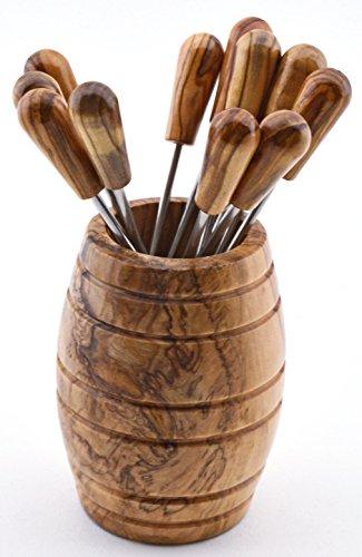 ART ESCUDELLERS Barril 12 Pinchos en Madera de Olivo Hecho a Mano. 4,5 cm x 4,5 cm x 7 cm