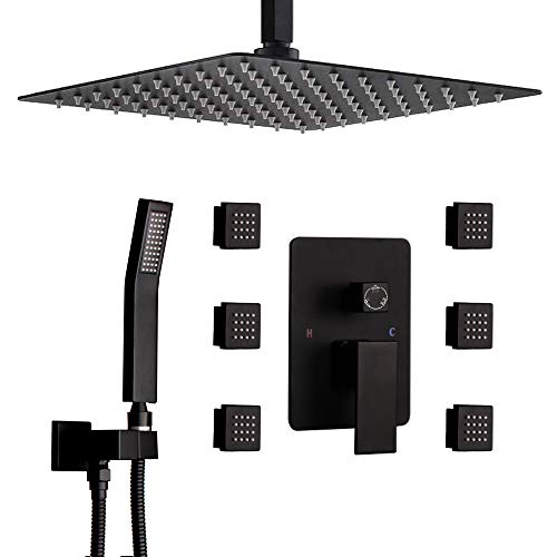 STARBATH Shower Jets System, 10 Inch Ceiling Mounted Rainfall Shower Head with 6 Body Sprays and Brass Handshower, Shower Faucet Rough-in Mixer Valve and Trim Included Shower Combo Set, Matte Black