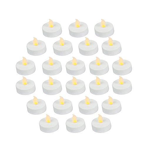 24Stück LED-Teelicht-Kerzen, Realistisch und hell, batteriebetrieben, flackernd ohne Flamme, 3,5cm x 4,2cm hoch, elektrische Kerzen-Imitation mit Batterien inklusive,Gelb