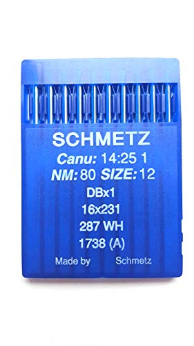 Schmetz Industrial Agujas de máquina de coser: 16 x 231 CANU 14:25 1 (Paquete de 10) 12/80
