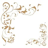 TODO-STENCIL Deco Cenefa 027 Esquina Filigrana. Medidas aproximadas: Medida Exterior 20 x 20 cm Medida del diseño:14,1 x 13,6 cm Medida de la Figura 1: 9,3 x 10 cm Medida de la Figura 2: 5 x 5,3 cm