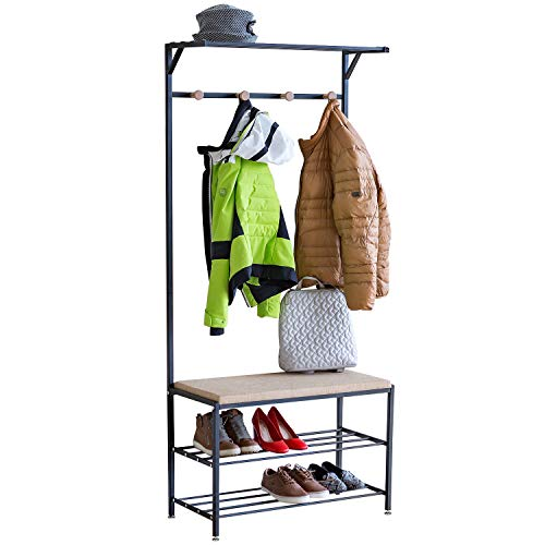 Tatkraft Solution Entryway Hall Tree, 2-tier Shoe Bench, Coat Rack with Shelf, Multifunctional Hallway Storage Organizer, 3-in-1, Holds up to 300lbs, Easy Assembly, Adjustable Feet, Matte Black Metal