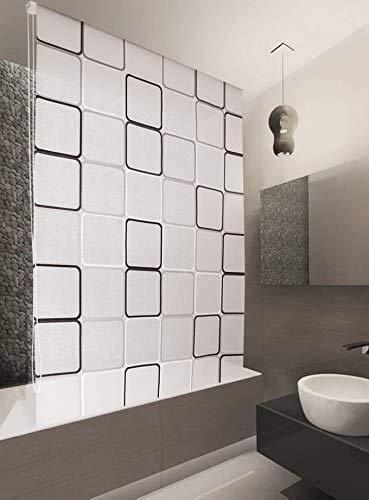 KSHANDEL24 Basic DUSCHROLLO 120x240 cm Modell Quadro DUSCHVORHANG GRAU Weiss SCHWARZ! Shower Rollo Curtain Grey!