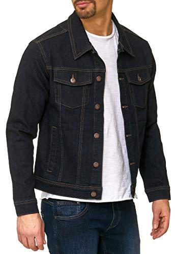 Indicode Herren Bryne Jeansjacke aus 98% Baumwolle | Moderne Jeans Jacke Herrenjacke Markenjacke Destroyed Washed Out Mens Denim Jacket Übergangsjacke Freizeitjacke für Männer Rinse Wash S
