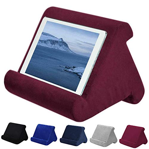 Support pour Tablette - Plusieurs Angles - Doux - pour iPad, tablettes, liseuses, Smartphones, Livres et Magazines - Rouge