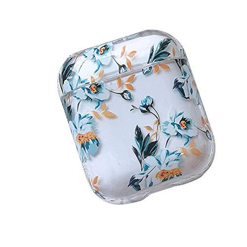 Schutzhülle für Airpods, transparent, Zitrone, Erdbeere, Gardenien-Muster, kabellose Bluetooth-Kopfhörer