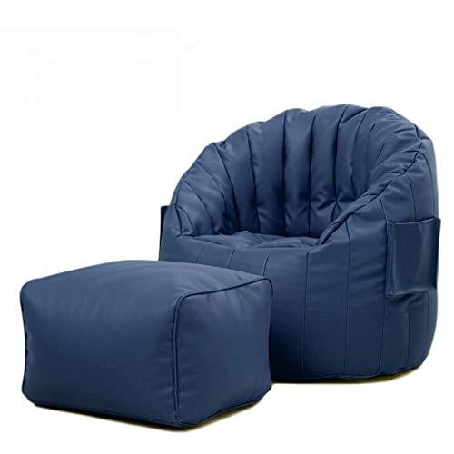LLHJD Bean Bag Bank, leer met zak verborgen rits hoge rug comfortabele ligstoel, ideaal voor binnen balkon spel stoel en tuinstoel, twee kleuren en twee stijlen