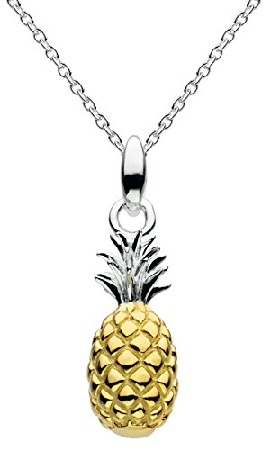 Dew Sterling Silver and Gold Plate Calypso 3D Pineapple Necklace of Length 45.7 cm