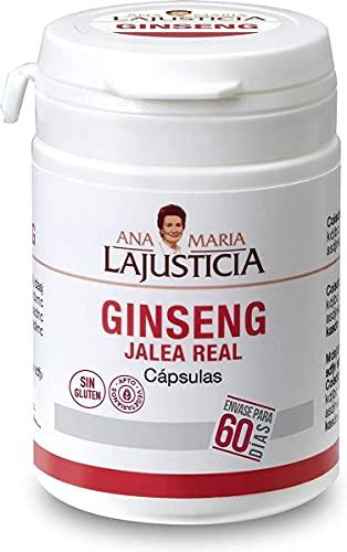 Ana Maria Lajusticia - Ginseng con jalea real – 60 cápsulas. Reduce el cansancio y la fatiga, refuerza el sistema inmunitario. Envase para 60 días de tratamiento.