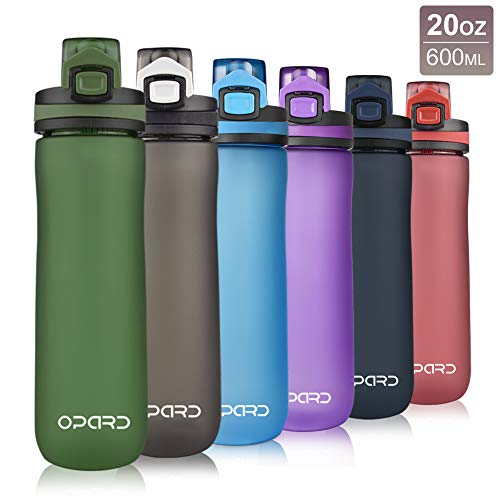 Opard Sports Water Bottle, 20 Oz BPA Free Non-Toxic Tritan Plastic Water Bottle with Leak Proof Flip Top Lid for Gym Yoga Fitness Camping (Dark Green)