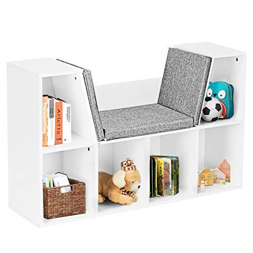 DREAMADE Bücherregal mit Sitzkissen, Bücherschrank Holz, Standregal mit 2 Ebene und Abnehmbarem Kissenbezug, Raumteiler Büroregal für Wohnzimmer Schlafzimmer, Weiß