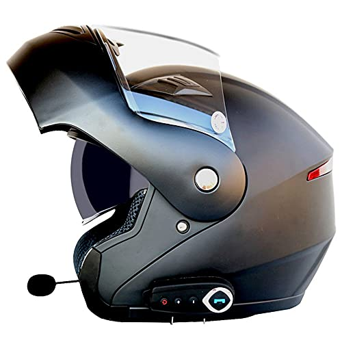 RMBDD Casco Casco de Moto Modular Bluetooth Integrado con un Micrófono Incorporado Anti Niebla Visera Doble Dot/ECE Homologado Adultos Hombres Mujeres Cascos Moto, 59~64cm