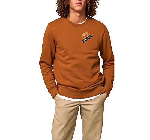 BONAGI Sudadera para hombre de algodón orgánico vegano, ropa de diseño para hombre Autumn Orange M