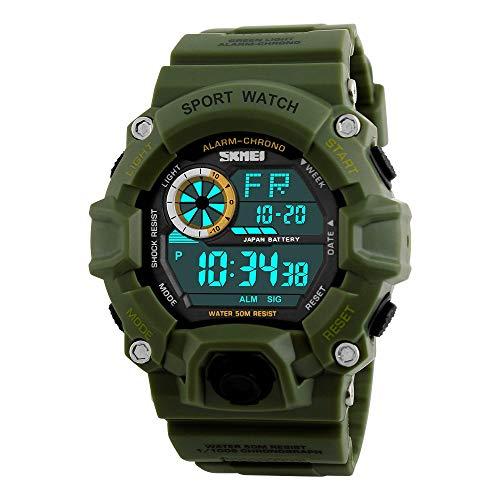 FeiWen Militär Sport Herren Plastik Schale mit Kautschuk Outdoor LED Digital 50M Wasserdicht Multifunktional Stoppuhr Kalender Alarm Uhren, Grün