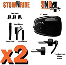 Lucerix Stow N Ride Mirror System - Two (2) Pak Snowmobile/ATV/PWC Quick Release Bar End Mirror BRP, Arctic Cat, Polaris, ...
