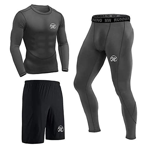 MEETEU Compresión Ropa Deportiva Baselayer Hombre, Secado Rápido Camiseta de Compresion,Gym Pantalones Corto Leggings Short para Running Fitness