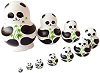 Unigift Cute Animal Panda with Bamboo Handmade Wooden Russian Nesting Dolls Matryoshka Dolls Set 10 Pieces for Kids Toy Home Decoration
