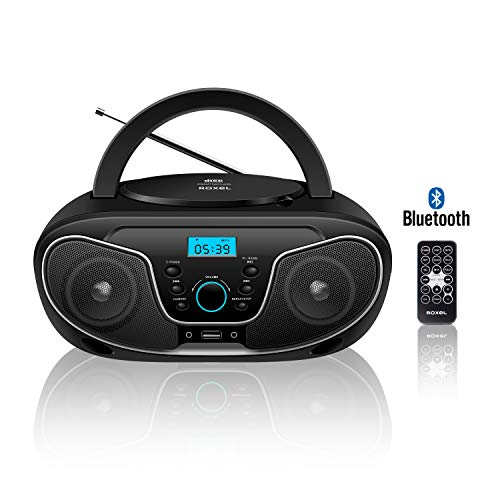 Roxel RCD-S70BT Portable Boombox CD Player with Bluetooth, Remote Control,...