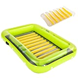 Inflatable Tanning Pool Lounge Float for Adults and Kids, Blow Up Tanning Pool Raft Tub with Pillow   Suntan Raft Float for Family Outdoor, Garden, Backyard Summer Water Party,Green