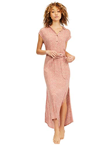 Billabong Women's Lovely Ways Button Front Midi Dress, Red Clay, S