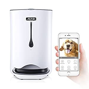 Automatic Pet Feeder Food Dispenser for Dogs & Cats Smartphone WiFi for Audio Programmable w/1080P Camera 6L Smart Feed