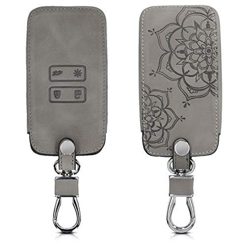 kwmobile Autoschlüssel Hülle kompatibel mit Renault 4-Tasten Smartkey Autoschlüssel (nur Keyless Go) - Kunstleder Schutzhülle Schlüsselhülle Cover Blumen Zwillinge Grau