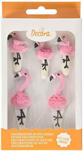 Decora 0500398 5er-Pack Flamingos Zuckerdekor