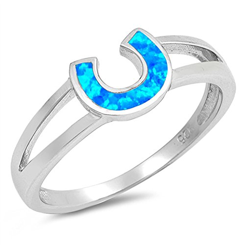Blue Simulated Opal Horseshoe Lucky Charm Ring .925 Sterling Silver Band Size 4