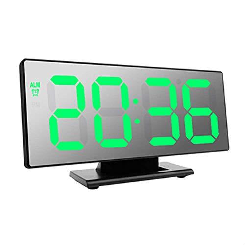 GWRA Reloj electrónico Reloj electrónico Tabla Temperatura Pantalla Multifunción Snooze Noche Pantalla de Gran número Relojes de Alarma de Escritorio LEDConcha NegraVerde