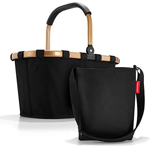 Set aus reisenthel Carrybag BK und reisenthel Shoulderbag HY, Einkaufskorb mit Kleiner Umhängetasche, Frame Gold/Black + Black