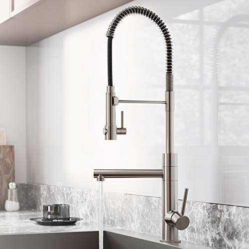 Kraus KPF-1603SFS Artec Pro Spot Free Stainless Steel Finish 2-Function Commercial Style Pre-Rinse Kitchen Faucet with Pull-Down Spring Spout and Pot Filler, 24.75 Inch