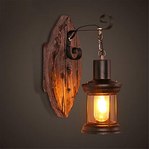 Lámpara de Pared de Estilo Industrial Retro de Madera Restaurante nórdico Mesa de Bar Cafetería Aplique de Pared de Barco,No Importa el Final (Color : Wood, tamaño : One Size)