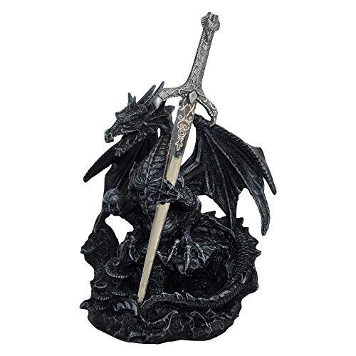 Nemesis Now Oath of The Dragon - Figura Decorativa de dragón (19 cm, Resina, Talla única), Color Negro
