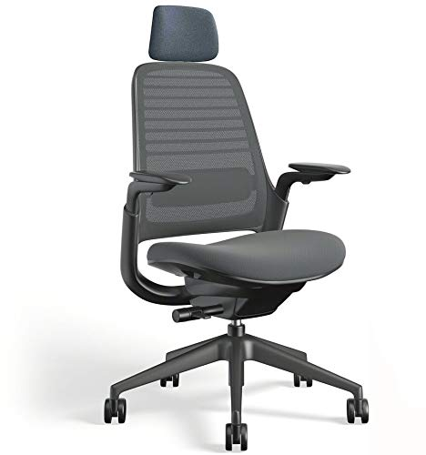 Series 1 Office Task Chair by Steelcase with Headrest - Black Frame, 3D Microknit Back, Fully Adjustable Arms, Carpet Casters and Graphite Cogent Connect Fabric