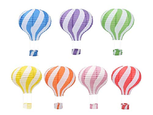Set van 7 Nieuwe Patroon Stripy Hot Air Balloon Papier Lantaarn Bruiloft Party Decoratie Craft Lamp Shade