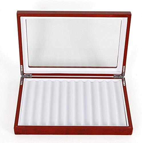 DY19BRIGHT - Caja de 23 plumas estilográficas, instrumentos de escritura de madera, carcasa de vidrio para exhibir estilográficas, caja de almacenamiento para coleccionistas, 2 capas: Amazon.es: Oficina y papelería