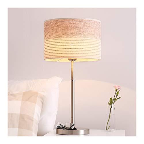 WFL - Lámpara de mesa de mesa, moderna, minimalista, tela de escritorio, luz E27 * 1 en hierro forjado a distancia, Dimming, salón, decoración, sofá, dormitorio, estudio, mesita de alta calidad
