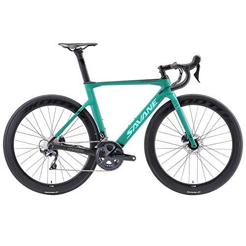 SAVADECK Disc Carbon Rennrad 700C Vollcarbon Rennrad mit Shimano Ultegra R8000 22S Groupset und hydraulischem Scheibenbremssystem (Blau, 54cm)
